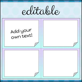 Task Cards Template BLANK/EDITABLE Pastel Gradient Theme