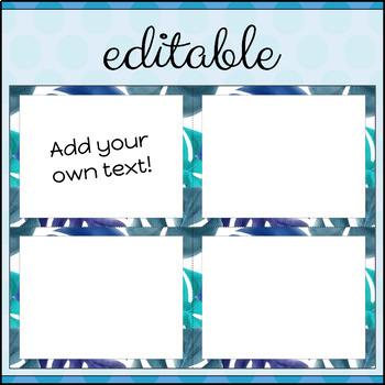 Task Cards Template BLANK/EDITABLE Tropical Blues Theme