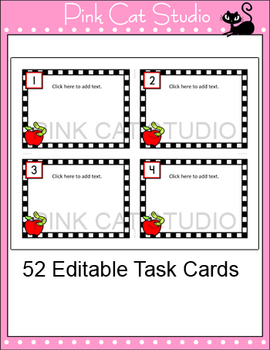 editable task cards template apple theme by pink cat studio tpt. Black Bedroom Furniture Sets. Home Design Ideas