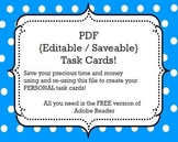 Task Cards Template: {Editable/Savable} PDF