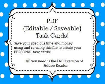task cards template editable savable pdf by ms nylak tpt