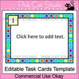 Task Cards Template - Polka Dot Rainbow Theme - Editable