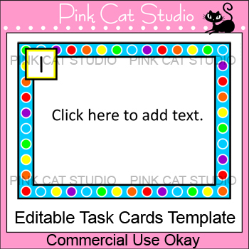 task cards template polka dot rainbow theme editable by pink cat studio. Black Bedroom Furniture Sets. Home Design Ideas
