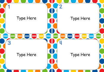 Task Card Templates - Primary Colors - EDITABLE