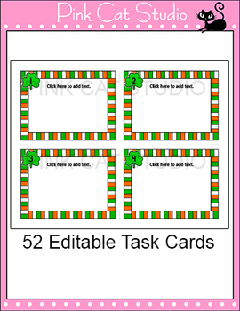 Editable Task Cards Template - St. Patrick's Day Theme