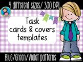 Task Cards Templates Blue/Green/Violet Bundle 4 sizes