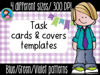 Task Cards Templates Blue/Green/Violet Bundle 4 sizes