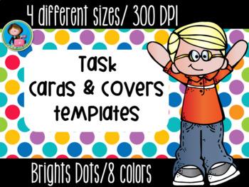 Task Cards Templates Bright Dots Bundle 4 sizes