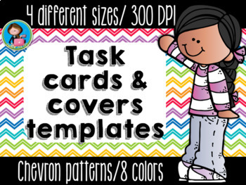 Task Cards Templates Chevron Bright Colors Bundle 4 sizes