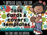 Task Cards Templates Fun Cabin Colors Bundle 4 sizes in chalk and white