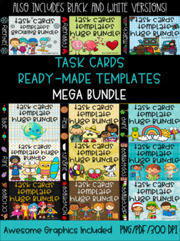 Task Cards Templates Monthly Growing Bundle