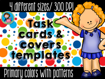 Task Cards Templates Primary Colors Bundle 4 sizes