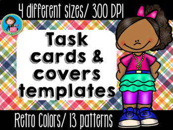 Task Cards Templates Retro Colors 2 Bundle 4 sizes