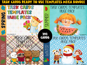 Task Cards Templates Seasons of the Year Growing Bundle