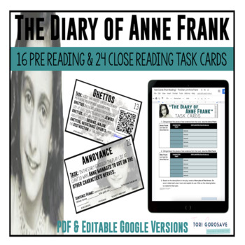 "Task Cards - ""The Diary of Anne Frank"""