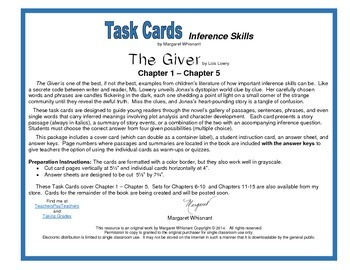 The Giver  Task Cards-- Inference Skills Chapters 1-5
