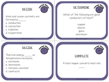 Thermal Energy: Physical Science Task Cards