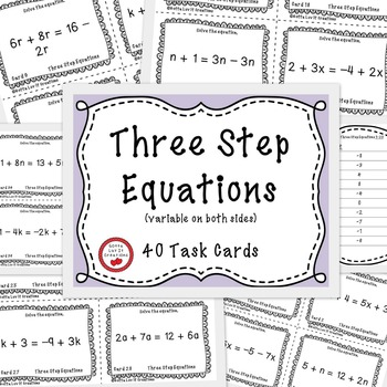 Solving Equations - Three Step Equations 40 Task Cards