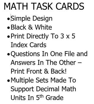 Task Cards To Print On 3 x 5 Index Cards (Set A)