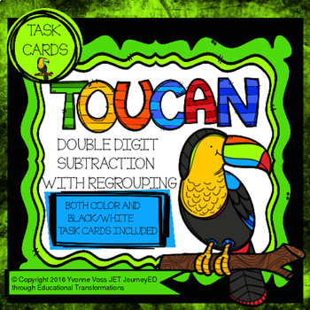 Task Cards Toucan Double Digit Subtraction with Regrouping