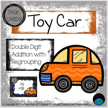 Task Cards Toy Car Double Digit Addition with Regrouping