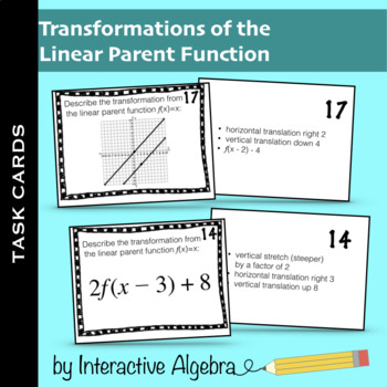 Task Cards: Transformations of Linear Functions