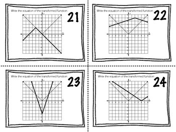 Task Cards: Transformations of the Absolute Value Parent Function
