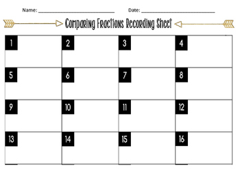 Task Cards Tribal Arrow Theme: Comparing Fractions