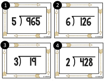 Task Cards Tribal Arrow Theme: Long Division With and Without Remainders