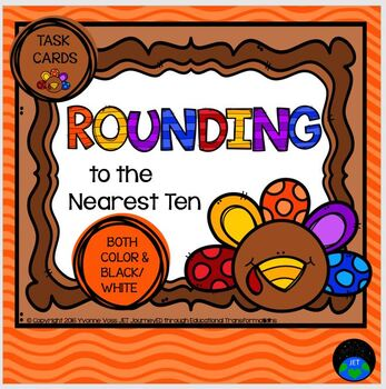 Task Cards Turkey Themed Rounding to the Nearest Ten