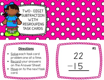Two-Digit Subtraction with Regrouping Task Cards