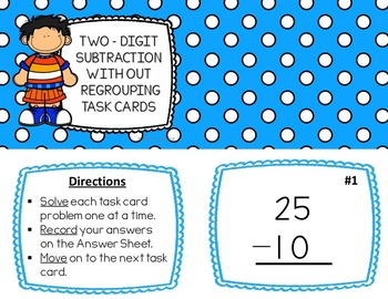 Two-Digit Subtraction without Regrouping Task Cards