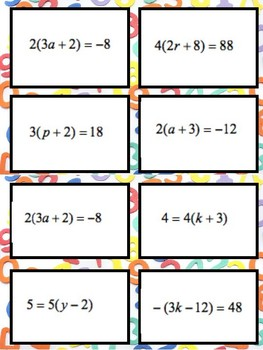 Task Cards! Two Step Equations Using Distributive Property