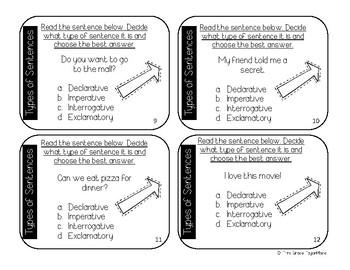 Task Cards - Types of Sentences