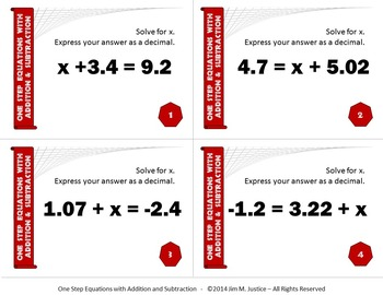 Task Cards ULTRA - Solving 1-Step Equation w/Addition and Subtraction (Dec/Frac)