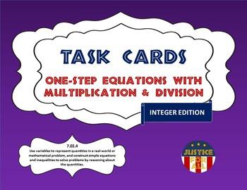 Task Cards ULTRA - Solving 1-Step Equation w/Mult. & Div. (Integers)