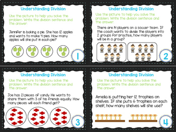 4th Grade Math Task Cards- Understanding Division; CCSS 4.OA.A.2