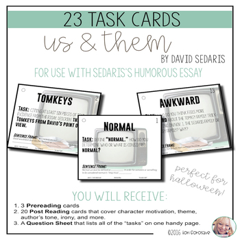 """Task Cards - """"Us and Them"""""""