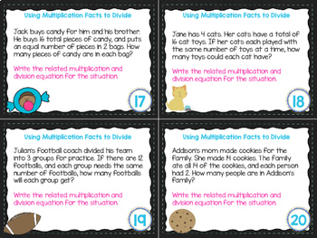 4th Grade Math Task Cards- Using Multiplication Facts to Divide; CCSS 4.OA.A.2