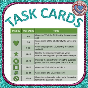 Task Cards 28 - Vertex Form & Standard Form of Quad Functions (With Optional QR)