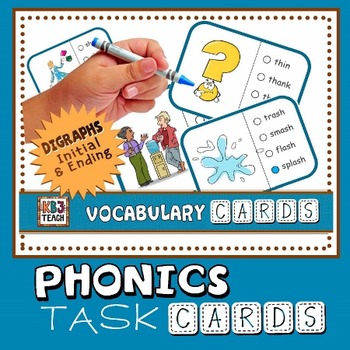 Phonics Multiple Choice Task Cards (Digraphs) LEVEL 2C