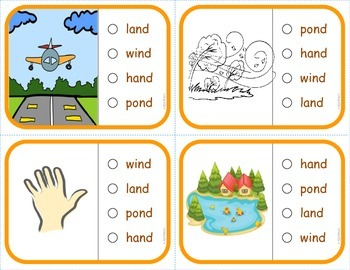 Phonics Multiple Choice Task Cards (Ending Consonant Blends) LEVEL 2B