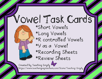 Task Cards - Vowels - Word Work - Short, Long and R-contro