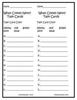 Kindergarten Math Task Cards - What Comes Next?