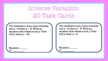 Task Cards: When x and y vary inversely