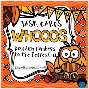 Task Cards Whooo's Rounding Numbers to the Nearest Ten
