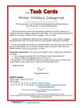Task Cards--Winter Holidays Categories