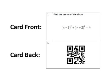 Task Cards With QR Codes - Circle Center and Radius