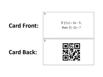 Task Cards With QR Codes - Evaluating Functions