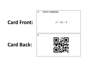 Task Cards With QR Codes - Factoring Quadratic Expressions